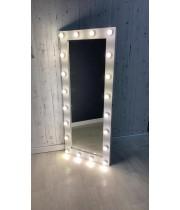 Гримерное зеркало с подсветкой белое 180х80 из лдсп