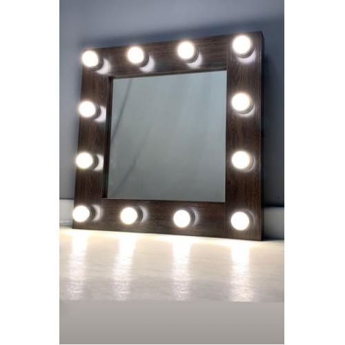 Гримерное зеркало с подсветкой лампочками 60х60 см 12 ламп